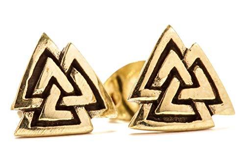 Pendientes vikingos con forma de Valknut de Windalf, altura de 0,8cm, en bronce