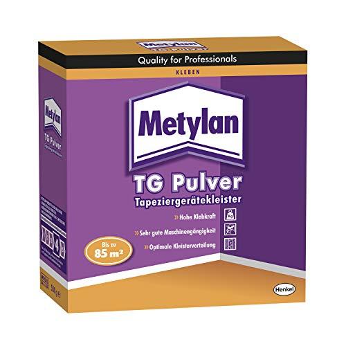 Metylan TG Power Pulver Tapetenkleister, Kleister für Raufaser- und Vliestapeten mit glattem Rücken, ideales Pulver für Tapeziermaschinen, 1x500g