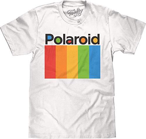 Tee Luv Polaroid Shirt - Polaroid Camera Color Spectrum Logo T-Shirt (White) (XXL)