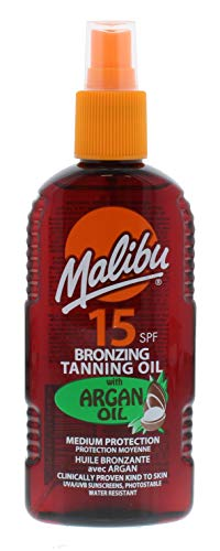 MALIBU 200ML SPF 15 BRONZING TANNING OIL WITH ARGAN OIL