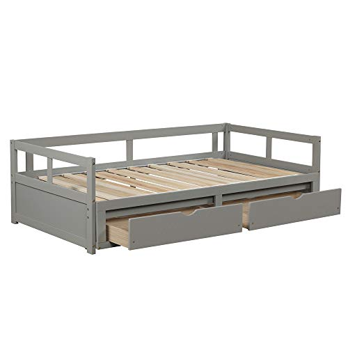 Fesjoy Wooden Daybed with Trundle Bed and Two Storage Drawers, Extendable Bed Daybed,Sofa Bed for Bedroom Living Room, Gray