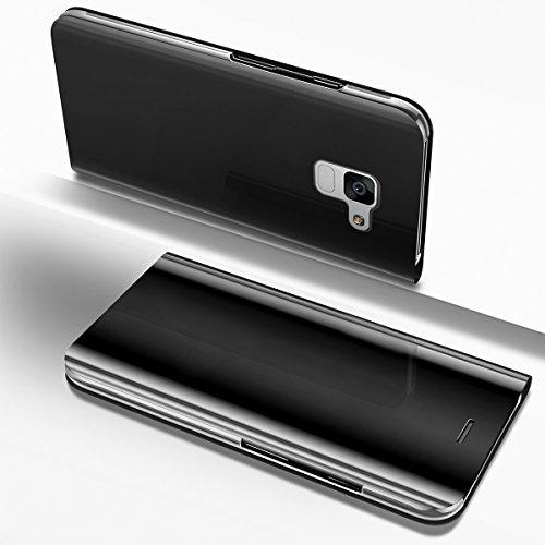 Ysimee Coque Samsung Galaxy A8 Plus 2018, Étui Folio à Rabat Clear View Case Couleur Unie Translucide Miroir Housse Fonction Support Ultra Mince Flip Portefeuille Coque pour Galaxy A8 Plus 2018,Argent