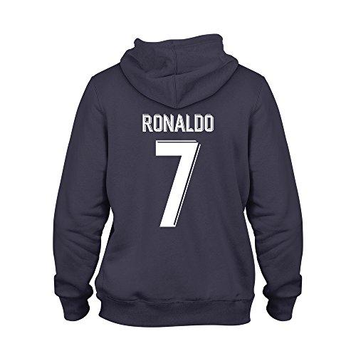 Cristiano Ronaldo 7 Club Player Style Kids Hoodie Navy/White, Large Boys (9-11yrs)