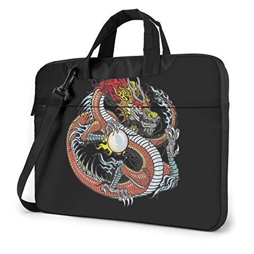 Dragón Chino con Bolso de Hombro para computadora portátil con Estampado de Perlas, Bolso de Mano para computadora portátil, Bolso de Mensajero de Negocios, maletín