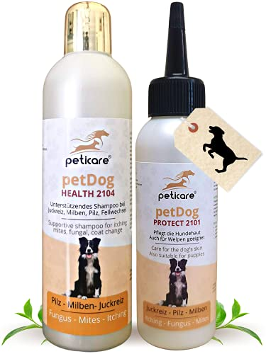 Peticare Hunde Pflege-Set Juckreiz, Milben, Flöhe, Pilz - Pflege-Lotion 100 ml & Hunde-Shampoo 250 ml, bei unangenehmem Fell-Geruch, pflegt die Hunde-Haut, effektive Pflege-Formel - Set 2135