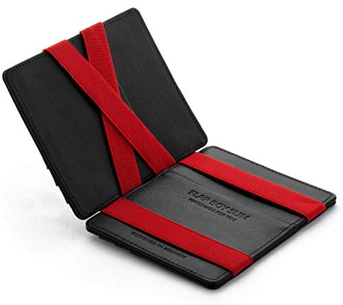 Magic Wallet Flap Boy Slim Front Pocket Jaimie Jacobs RFID (Black with Red)