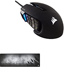 Corsair Gaming SCIMITAR Pro RGB Gaming Mouse, Backlit RGB LED, 16000 DPI, Black Side Panel, Optical and Corsair Gaming MM300 Anti-Fray Cloth Gaming Mouse Pad, Extended