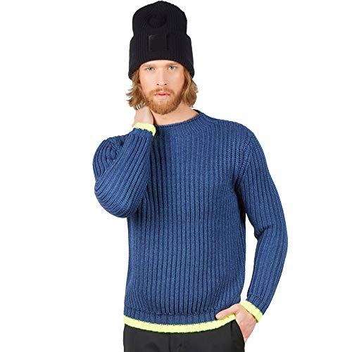 Maglione Pullover Girocollo Uomo in 100% Lana Merino Colore Blu Denim Taglia XL