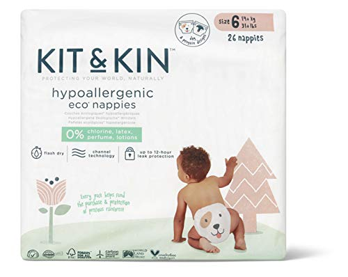 Kit & Kin Eco Nappies Size 6 Hypoallergenic and Sustainable (26 x 4 Packs, 104 Nappies)