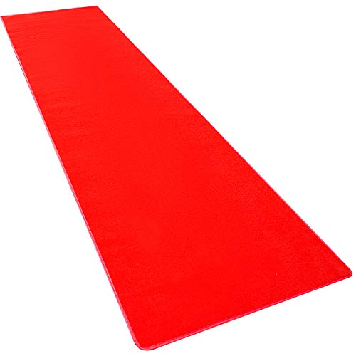 Happybuy 3.3Ft X 20Ft Large Red Carpet Runner Rug Solid TRP Rubber Backed Hollywood Runner Carpet Non-Slip Stair Patio Party Decor Wedding 1M X 6M Aisle Floor Runner Rug - Various Sizes (Red, 3x20Ft)