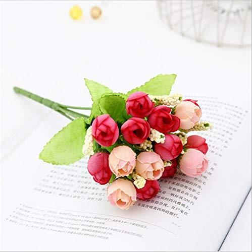 Künstliche Rosen-Blumen-Silk European Style Blumenstrauß Fake Flowers kleine Knospe Rosen Hochblatt Simulation nach Hause Wedding Partei-Dekoration (Color : Purple)