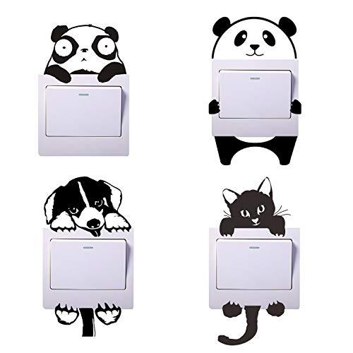 4 pegatinas de dibujos animados para interruptores de luz, pegatinas de panda, pegatinas de perros, pegatinas de gatos para interruptores de luz