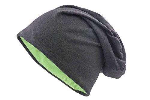 Shenky - Long Bonnet de Printemps Tombant - Jersey - Homme, Femme, Enfant - Bicolore (Noir/Vert) - Taille Unique