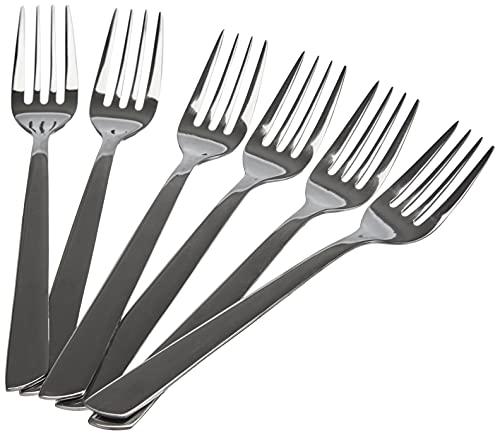 Arcos Serie Toscana, Juego de Tenedor para Tartas, 6 tenedores, Monoblock de una pieza en Acero Inoxidable 18y10 y 140 mm, Color Plata