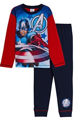 Marvel - Pijama de Capitán América para niños, diseño de Los Vengadores Rojo/Negro 5-6 Años
