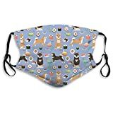 Reusable Washable Cotton Funny Shiba Inu Dogs Face Masks with Dust Filter Pocket Black