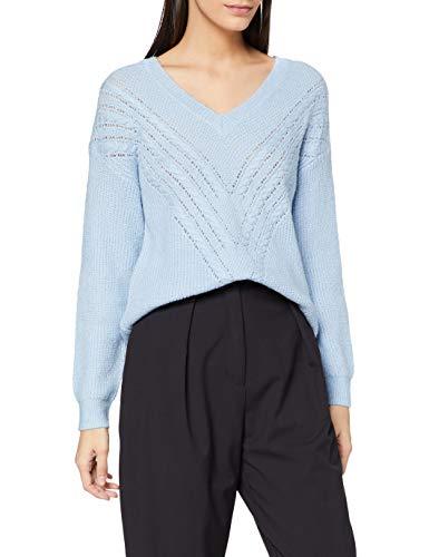Naf Naf M-Amandine Ml Suéter pulóver, Bleu Shirting Aagq, L para Mujer
