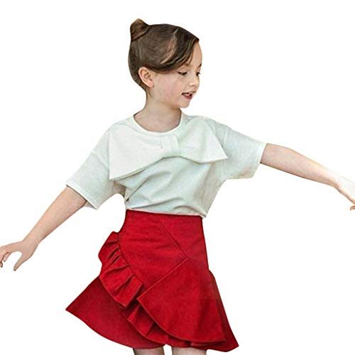 Lowest Prices! Toddler Girls Knot Skirt Set 💝 Casual Crew Neck Big Tie Front Solid Color Tops + H...