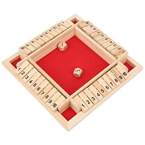 Juegos de 4 caras y 10 números, juguete de dados de tablero de madera, fácil de aprender, hermoso juego de dados de madera, mejora las habilidades sociales básicas para fiestas en casa para