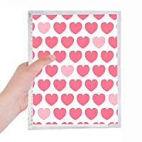バレンタインデーのピンクの赤いハートのスポット 硬質プラスチックルーズリーフノートノート