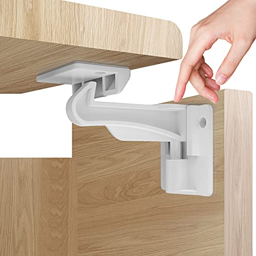 Upgraded Version 12 Pack Child Proofing Cabinet Locks White,Baby Safety Latches with Strong Adhesive,Baby Proof Latch Lock for Kitchen Cabinets Cupboards Drawers Doors Locks,No Drilling