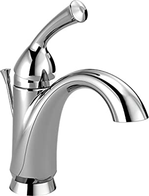 Delta Faucet Haywood Single Hole Bathroom Faucet, Single Handle Bathroom Faucet Chrome, Bathroom Sink Faucet, Diamond Seal Technology, Drain Assembly, Chrome 15999-DST