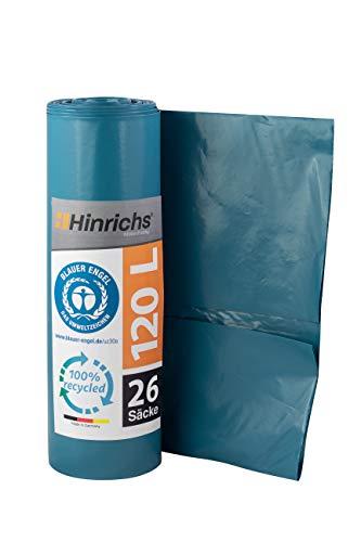 Hinrichs Müllsäcke 120L - Extrem Reißfest - 26er Rolle - Abfallsäcke XXL - 70 μ - 700x1100 mm - LDPE - perfekte Müllentsorgung für Haushalt Garten - Blauer Engel zertifiziert (Blau)