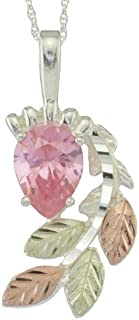 product image for Black Hills 8 X 5 MM Pear Shaped Pink CZ Pendant Necklace in Sterling Silver