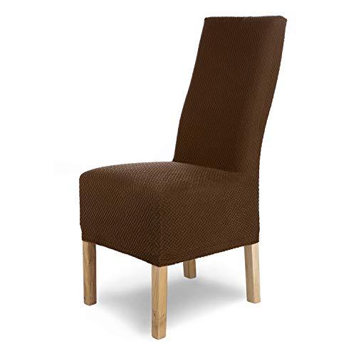 SCHEFFLER-Home Stretch Stuhlhusse Luna-Lang   6er Set elastische Flanell Stuhlabdeckungen   Stuhlhussen Schwingstühle   Spannbezug mit Gummiband   Elegante Stuhlbezüge