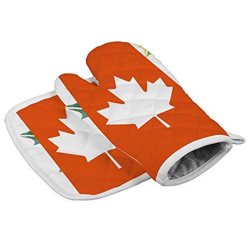 Ofenhandschuhe mit Ahornblatt-Motiv, Kanada-Flagge, professionell, hitzebeständig, für Mikrowelle, Grill, Ofen, Isolierung, Verdickung, Baumwolle, Backhandschuhe mit weichem Innenfutter