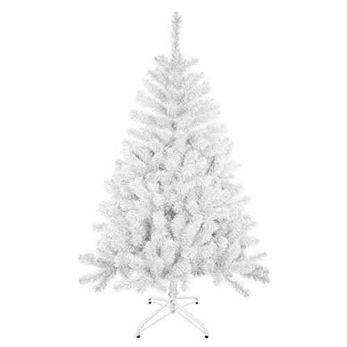 Solagua Árbol de Navidad Artificial Abeto de Hoja Espumillón 120-210cm Arboles C/Soporte (Blanco, 180cm 477Tips)