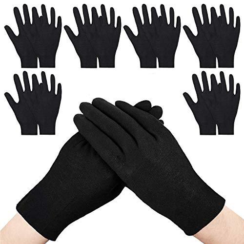 GiantGo guantes de algodón negro, 12 pares de guantes de inspección, guantes de trabajo de seguridad, respetuosos con la piel, hechos para manos secas, limpieza de archivo, inspección de joyas