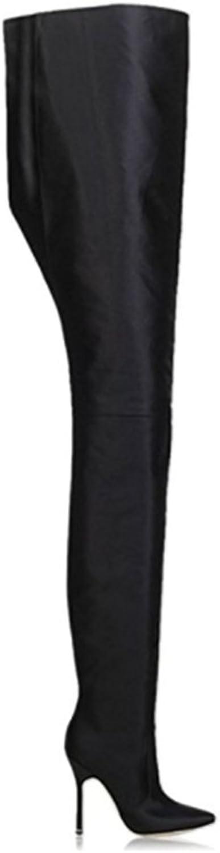 Over Knee High Heel Boots Pointed Toe Ladies Slip On Bright Satin Waist High