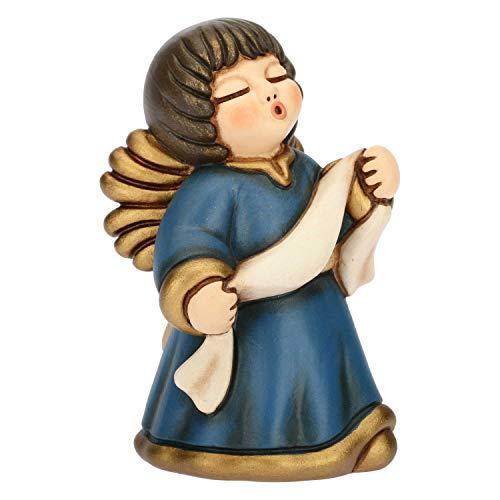 THUN® - Angelo dell'Annunciazione con Targhetta Personalizzabile - Veste Blu - Statuine Presepe Classico - Ceramica - I Classici