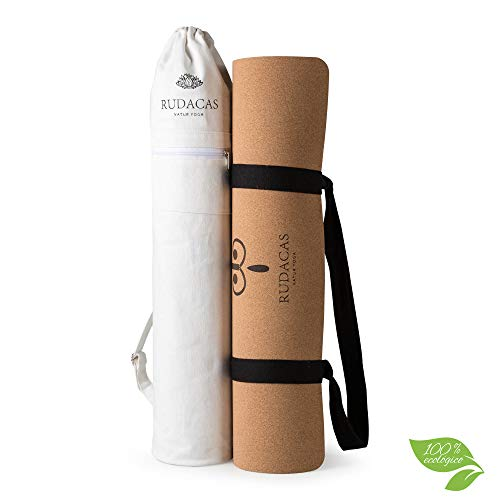 RUDACAS. Esterilla de Yoga de Corcho Natural, Antideslizante, Deporte, 183 x 66 cm con un Grosor de 6 mm, Líneas, Yoga Mat, Cinta Transporte, Bolsa premium.