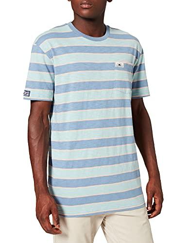 Superdry M1010895A Cali Surf-Camiseta de Manga Corta, Azul Multicolor, S para Hombre