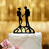 Decoración para tarta de boda, cristal acrílico negro, XL, diseño de paisaje montañoso, Mr Mrs