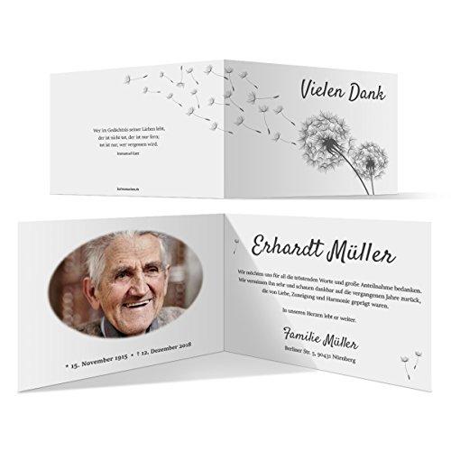 20 x Trauer Dankeskarten Danksagung Danksagungskarten Trauerkarten individuell - Löwenzahn