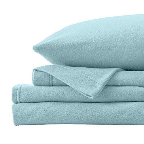 Super Soft Extra Plush Fleece Sheet Set. Cozy, Warm, Durable, Smooth, Breathable Winter Sheets in Solid Colors. Christina Collection (Twin, Cloud Blue)