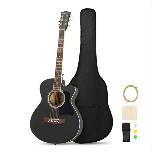 MATICO 39 Inch 6 Strings Acoustic Guitar Student Pack, Handmade Cutaway Basswood Guitar Starter Kit with Accessories, Matte Black