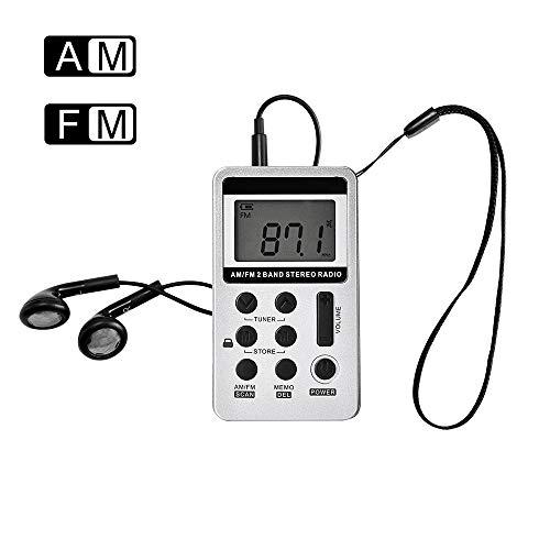 PopHMN Radio de Bolsillo, Mini Radio estéreo Digital con Pantalla LCD Am FM Cordón y Auriculares, Plateado