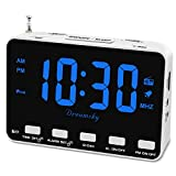 DreamSky Radio Alarm Clock for Bedroom - Small Digital Clock with USB Port, Outlet Powered with Battery Backup, 0-100% Dimmable Display, Transistor FM Radio with Earphone Jack, Snooze, 12/24H