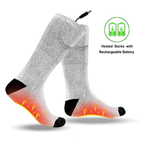 Electric Heated Socks with Rechargeable Battery Powered, Washable Heating Socks with 3 Temperature Keep Foot Warm Fits Men and Women, Foot Warmer Socks for Hunting, Camping, Hiking, Motorcycle Grey