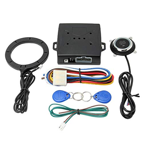 Tubayia Smart RFID Auto Motor Alarmanlage - Automotor Push Starter Host + Push Start Stop Taste + RFID Sensor Ring + 2pcs RFID Schlüssel