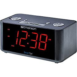 Emerson SmartSet Alarm Clock Radio with Bluetooth Speaker, Charging Station/Phone Chargers with USB port for iPhone/iPad/iPod/Android and Tablets, ER100201