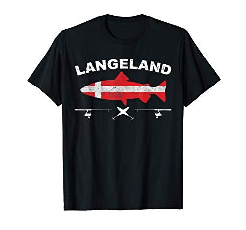 Langeland Angeln Dänemark Flagge Küstenangeln Meerforelle T-Shirt