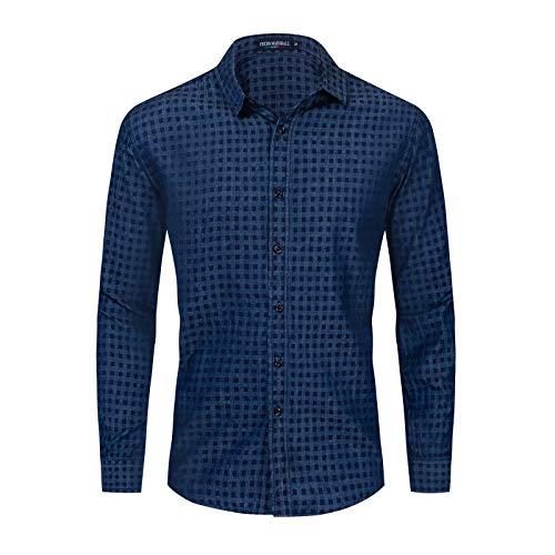 Camisa de Manga Larga para Hombre Primavera y otoño Nueva Camisa de Manga Larga con Estampado Cuadrado Europeo y Americano Camisa Casual con Solapa XXL