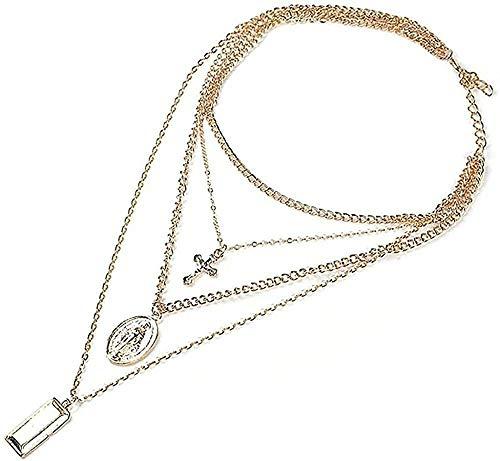 ZJJLWL Co.,ltd Collar Religioso Vintage Cadena Simple Color Dorado Borla Cruz Colgante humanoide Collar de múltiples Capas Joyería Fina para Mujeres