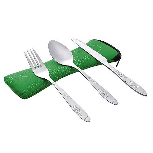 SOMESUN 3 Stück Tragbar Besteck Set Lebensmittelqualität Edelstahl Messer Gabel Löffel Reisen Besteckset Mit Tasche Hause Küche Familie Picknick Abendessen Metall Geschirr