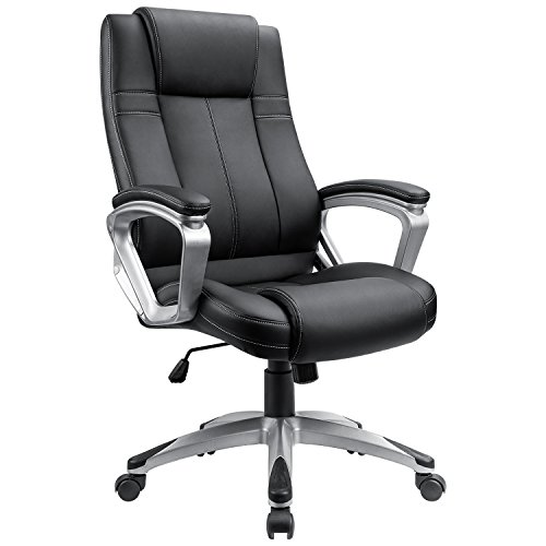 Furmax High Back Exectuive Office Chair,Adjustable Managerial Desk Chair,Swivel Computer PU Leather Chair Headrest and Lumbar Support (S0 Black)